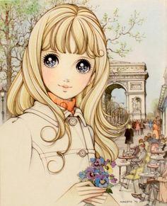 drawing girl cute cafe flowers paris france Makoto Takahashi macoto takahashi feminime doll eye