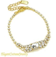 Formal Gold & Clear Bridal Prom Crystal Bracelet Elegant Jewelry  Elegance doesn't have to be expensive -  $9.99   www.ElegantCostumeJewelry