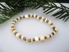 Handbeaded Mother of Pearl, Gold Accented Stretch Bracelet | EclecticCraftVenue - Jewelry on ArtFire
