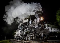Cass Shay #4 puts on an impressive show under the dark, night sky as she travels lite back to the locomotive shop.
