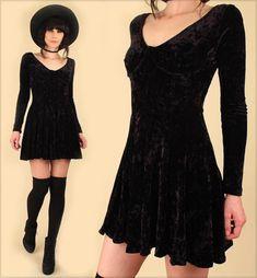 ViNtAgE 90s CRUSHED Black VELVET Bustier Mini Dress Dress Contempo Casuals 90s style fashion