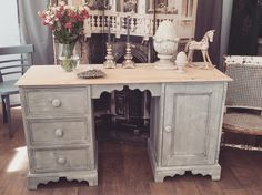 Unique Furniture, Shabby Chic Furniture, Pine Desk, Solid Pine, Drawers, Cabinet, Storage, Home Decor, Clothes Stand