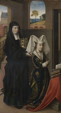 Isabel of Portugal,Duchess of Burgundy at prayer with St. Elizabeth standing behind Petrus Christus,1457-1460