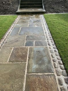Reclaimed York Stone Paving slabs /flags From£50To£75sqyd(thestonedealerdirect) | eBay Concrete Paving, Brick Paving, Concrete Steps, Brick Flooring, Paving Stones, Diy Driveway, Walkway, Stone Path, Stone Slab