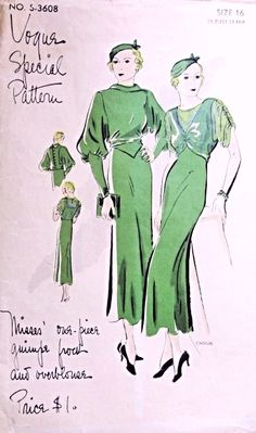 1930s Stunning Art Deco Dress Pattern Vogue Special Pattern S-3608 Guimpe Frock and Overblouse Two Sleeve Styles Day or Evening Dress Just Gorgeous Bust 34 Vintage Sewing Pattern 195