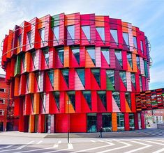 """Building located in Gothenburg, Sweden– named Kuggen (""""the cog""""). It's a sustainable office building designed by Swedish practice Wingårdh Arkitektkontor. Thank you for sharing, Jeannie Huang! Colourful Buildings, Unique Buildings, Amazing Buildings, Facade Architecture, Sustainable Architecture, Amazing Architecture, Dynamic Architecture, Futuristic Architecture, Kindergarten Design"""