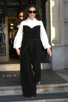 Catherine Zeta-Jones: Georges Chakra Black and White Jumpsuit with Belt from the Fall 2016 Collection