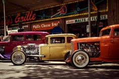 Colorful #HotRods all lined up in a row. #Classic #American #Tradition #Custom #Design #Innovation #Cool