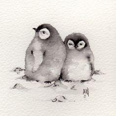 2 Little Penguin Chicks Original ink/watercolour by wildsunart
