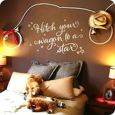cowboy theme boys bedroom ideas | wall decal cowboy theme boys room rope and cowboy hat art