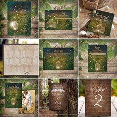 A collection of stationery items and decor for an Enchanted Forest Wedding, Enchanted Forest Birthday Party, Enchanted Forest Prom, or any other Secret Garden, Fairytale, Forest themed event | Copyright © Soumya's Invitations | Visit www.soumyasdesigns.com for more enchanted forest and secret garden items! #enchantedforesttheme #enchantedforestwedding