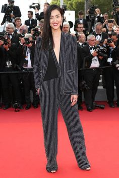 Liu Wen in JEAN PAUL GAULTIER attends the 70th Anniversary screening during the 70th annual Cannes Film Festival at Palais des Festivals on May 23 2017 in Cannes France