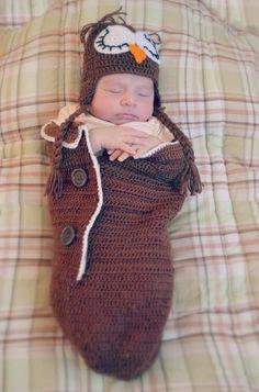 Newborn owl costume ( crochet ) #cocoon #halloween #baby
