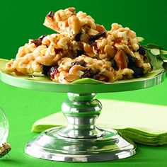 Sour Cherry and Mixed Nuts Popcorn Brittle. This is sooo yummy.  The sour cherries makes this amazing.