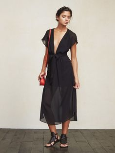 We like to make you pretty things. The Thalia Dress is a georgette midi dress with a plunging V neckline that has a hook/eye closure - so you can wear it down to there or close it up a bit and wear a bra. https://www.thereformation.com/products/thalia-dress-black?utm_source=pinterest&utm_medium=organic&utm_campaign=PinterestOwnedPins