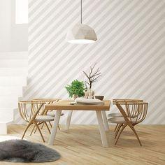 Ivy Bronx Lamoureux L x W Wallpaper Roll Wallpaper Roll, Cool Wallpaper, Striped Wallpaper Design, Designer Wallpaper, Galerie Wallpaper, Modern Townhouse, Striped Walls, Feature Tiles, Open Wall