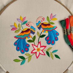 Grand Sewing Embroidery Designs At Home Ideas. Beauteous Finished Sewing Embroidery Designs At Home Ideas. Hand Embroidery Videos, Hand Embroidery Flowers, Embroidery Works, Creative Embroidery, Hand Embroidery Stitches, Machine Embroidery Designs, Peacock Embroidery Designs, Handmade Embroidery Designs, Bordado Popular