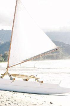 coastal white - lovely sail boat on the beach Vienna Waits For You, Sail Away, Shades Of White, Summer Breeze, Catamaran, Beach Cottages, Beach Bum, Sand Beach, Strand