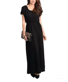 Take a look at this Black Layered Surplice Maxi Dress by Buy in America on #zulily today!