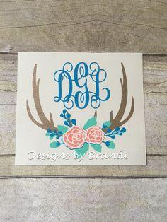 monogrammed deer antlers decal monogram by DesignsByBrandiCo