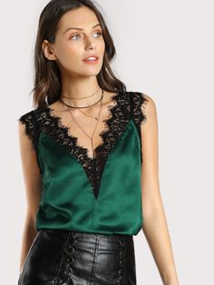 Shop Lace Trim Double V Neck Satin Top online. SheIn offers Lace Trim Double V N. - - Shop Lace Trim Double V Neck Satin Top online. SheIn offers Lace Trim Double V Neck Satin Top & more to fit your fashionable needs. Source by Satin Top, Silk Top, Silk Satin, Shein Dress, Lace Vest, Womens Sleeveless Tops, Sleeveless Blouse, Green Satin, Green Lace