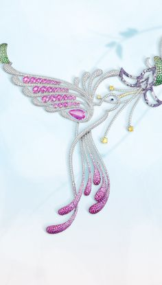 A magnificent diamond and gem-set hummingbird necklace with pink sapphires | CHOPARD | La Beℓℓe ℳystère