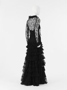 Evening ensemble, 1937-8, Coco Chanel: gown with lace bolero jacket, cotton, rayon, silk. JC