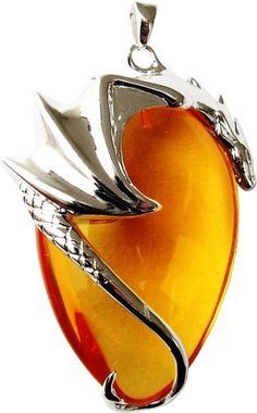 Basking Draca Amber Crystal Pendant For Money & Luck - By Anne Stokes- Comes with matching necklace