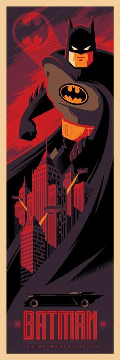 Batman: The Animated Series by Tom Whalen - Batman Poster - Trending Batman Poster. - Batman: The Animated Series by Tom Whalen Im Batman, Batman Robin, Superman, Batman Stuff, Posters Batman, Batman Artwork, Batgirl, Catwoman, Batman Kunst
