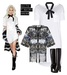 """""""white tee dress"""" by im-karla-with-a-k on Polyvore featuring Audrey 3+1, T By Alexander Wang, ONLY and Burberry"""