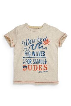 Buy Oatmeal Wanted Big Waves T-Shirt (3mths-6yrs) from the Next UK online shop