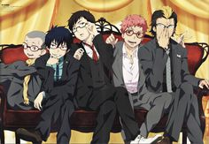 Ao no Exorcist poster promo Okumura Rin , Okumura Yukio , Suguro Ryuji , Shima Renzou , Miwa Konekomaru Ao No Exorcist, Blue Exorcist Anime, All Anime, Me Me Me Anime, Anime Guys, Anime Art, Rin Okumura, Mephisto, Vocaloid