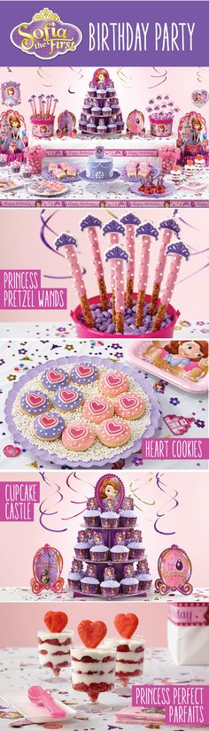 Sofia the First sweets table. Princess Sofia Birthday, Sofia The First Birthday Party, Fall Birthday, Third Birthday, 4th Birthday Parties, Princess Party, Birthday Ideas, Princesa Sophia, First Birthdays