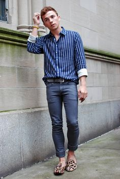 Love the use of an animal print to break up the blue on blue look.  NUNC Shirt, Pants