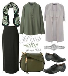 """""""#Hijab_outfits #Modesty"""" by mennah-ibrahim on Polyvore featuring Dorothy Perkins, St.Emile, Comfortiva by Softspots, Versace, Marc Jacobs and Uniqlo"""