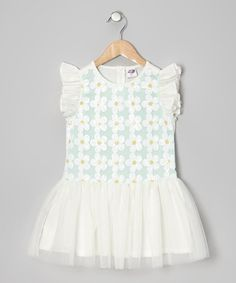 Loving this Seafoam Sequin Flower Dress - Infant, Toddler & Girls on #zulily! #zulilyfinds