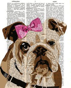 Bulldog Print Dictionary Page Original Dog Art by TheCuriousHat, £5.99-Victoria Hopkins