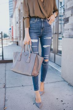Love love the high waist on these jeans! (they run a little small size up :) DETAILS: OLIVE BODYSUIT (UNDER $50) |  DISTRESSED HIGH-RISE DENIM (UNDER $60 – SIZE UP: WEARING SIZE 26 – MORE SIZ…