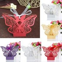 Wish | 50Pcs Butterfly Laser Cut Party Sweet Wedding Favor Candy Gift Boxes With Ribbon LON