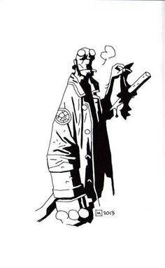 Hellboy Tattoo, Georges Wolinski, Mike Mignola Art, Monster Under The Bed, Dark Comics, Like Mike, Creature Drawings, Comic Books Art, Book Art