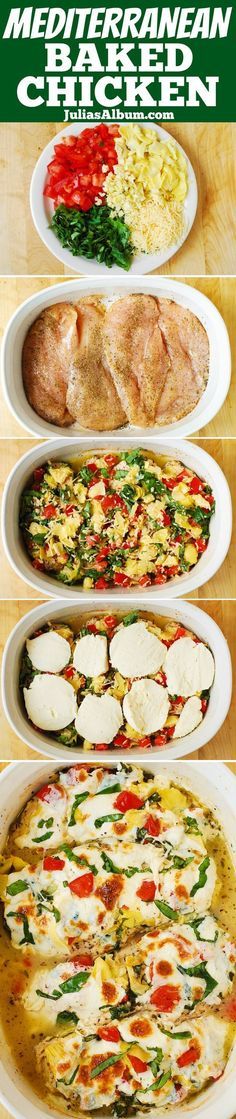 Tomato Basil Artichoke Baked Chicken breasts smothered in fresh mozzarella cheese and fresh basil! Comfort food made with healthy ingredients.