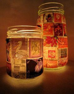 Stamp Lamp - upcycled glass jar tealight candle holder Stamps and mod podge would do it Bottles And Jars, Glass Bottles, Mason Jars, Tea Light Candles, Tea Lights, Tealight Candle Holders, Jar Crafts, Bottle Art, Tea Light Holder
