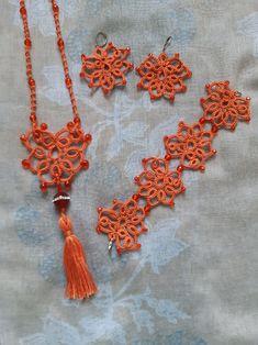 Tassel Necklace, Crochet Necklace, Needle Tatting, Summer Set, Tassels, Jewelry Making, Orange, Beautiful, Jewellery Making