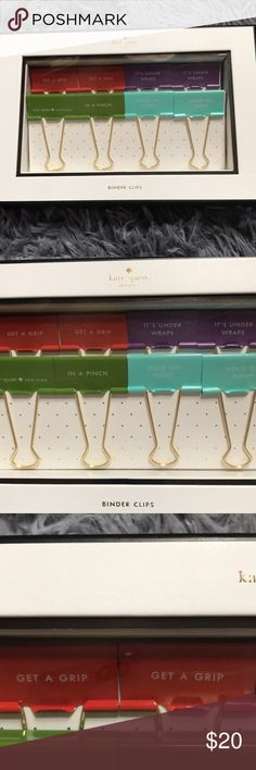 """🔥Kate Spade Binder Clips 8 Brand New Brand New Kate Spade Binder Clips: 2 orange """"Get a grip"""", 2 purple """"It's under wraps"""", 1 green Kate Spade and 1 """"In a pinch"""" and 2 """"Hold on tight"""". Kate Spade New York Other"""