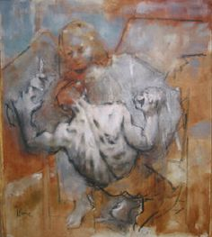 JACK LEVINE, Jacob Wrestling with the Angel 1975, oil on canvas 40 x 35 inches