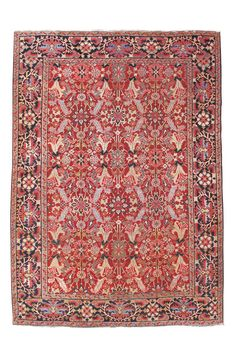 Jewel-Toned Heriz Carpet | From a unique collection of antique and modern persian rugs at https://www.1stdibs.com/furniture/rugs-carpets/persian-rugs/