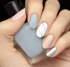 Soft matte marble blush grey blue white marble silver nails Zoya