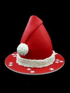 Santa Hat Christmas Cake. No link but it looks to me like a Dolly Varden cake shape