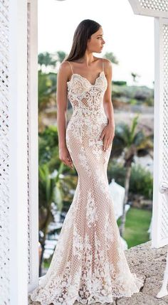 Summer Wedding Dresses top wedding dresses trumpet with spaghetti straps lace blush beach oksana mukha - There are wedding dresses, and then there are the BEST wedding dresses. Fashion wedding gowns from the most popular bridal designers here. Wedding Dress Trumpet, Top Wedding Dresses, Stunning Wedding Dresses, Bridal Dresses, Beautiful Dresses, Prom Dresses, Mermaid Wedding, Blush Dresses, Formal Dresses