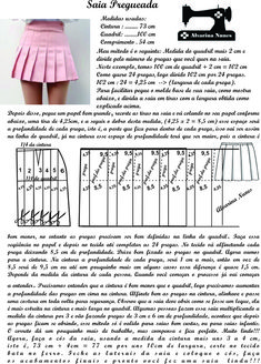 Costura e Modelagem Pleated Skirt Pattern, Skirt Patterns Sewing, Doll Clothes Patterns, Clothing Patterns, Diy Sewing Projects, Sewing Hacks, How To Make Clothes, Diy Clothes, Cara Delvingne